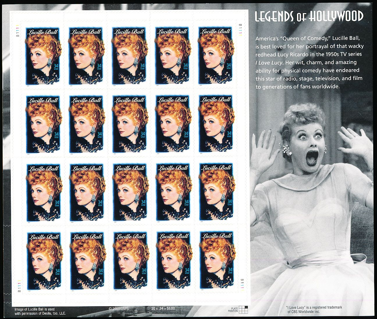 "... Detail - 2000 USPS ""Lucille Ball"" 34 Cent Stamp Panel- 20 Stamps"