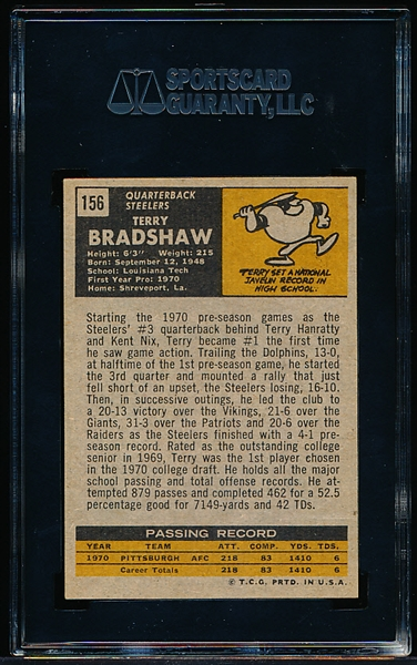 1971 Topps Football - #156 Terry Bradshaw, Steelers- Rookie! – SGC 82 (Ex/Mt+ 6.5)