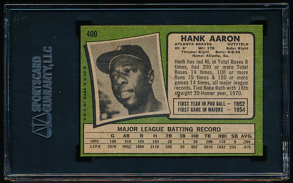 1971 Topps Baseball- #400 Hank Aaron, Braves- SGC 84 (NM 7)