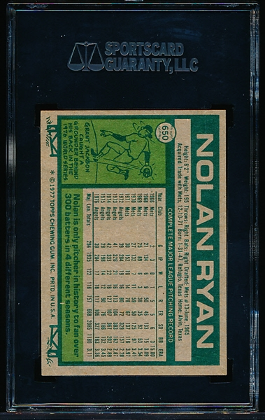 1977 Topps Baseball- #650 Nolan Ryan, Angels- SGC 96 (Mint 9)