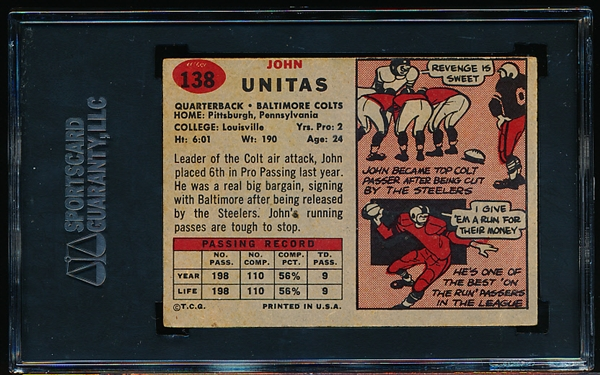 1957 Topps Football- #138 Johnny Unitas RC- SGC 35 (Good + 2.5)