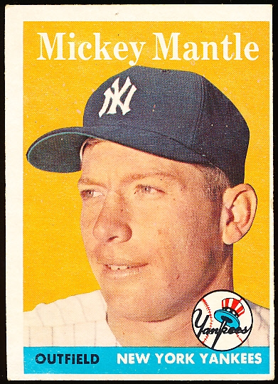 1958 Topps Bb- #150 Mickey Mantle, Yankees