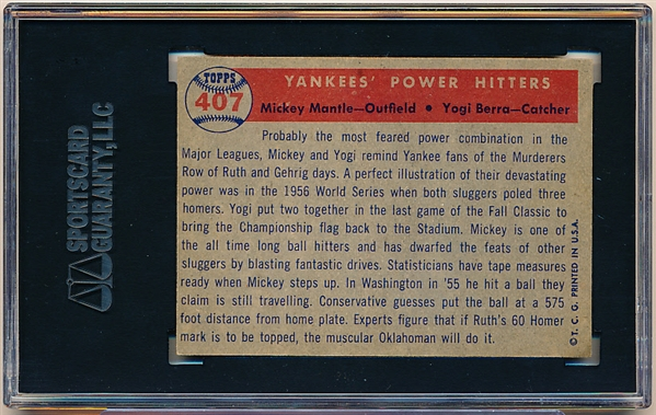 1957 Topps Baseball- #407 Yankee Power- Mantle/Berra- SGC 60 (Ex 5)