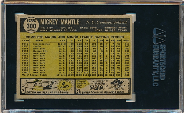 1961 Topps Baseball- #300 Mickey Mantle, Yankees- SGC 70 (Ex+ 5.5)