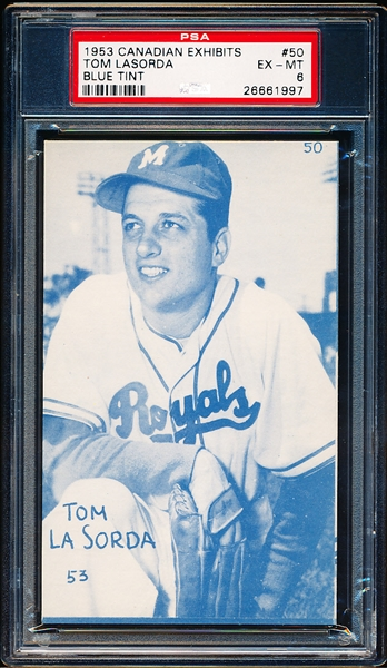 1953 Canadian Baseball Exhibit- #50 Tom LaSorda, Montreal- PSA Ex-Mt 6 – Blue Tint!