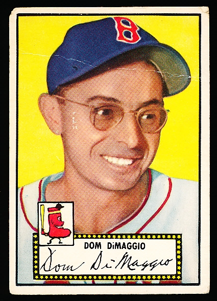 1952 Topps Bb- #22 Dom DiMaggio, Red Sox- Black Back.