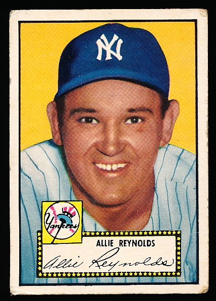 1952 Topps Bb- #67 Allie Reynolds, Yankees- Black Back
