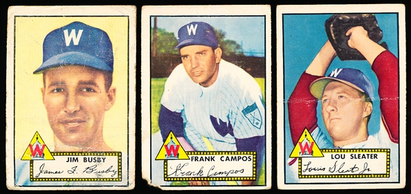 1952 Topps Bb- 3 Cards