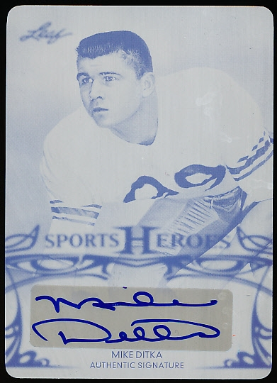 "2013 Leaf Sports Heroes Ftbl. ""Printing Plate/Autograph"" #BA-MDI Mike Ditka- 1/1!"