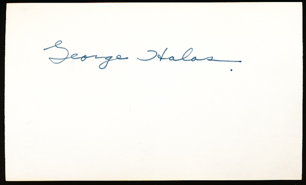 Autographed George Halas Ftbl. Index Card- SGC Certified