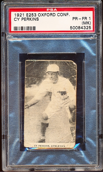 1921 E253 Oxford Conf.  Bb- Cy Perkins, Athletics- PSA PR-FR 1