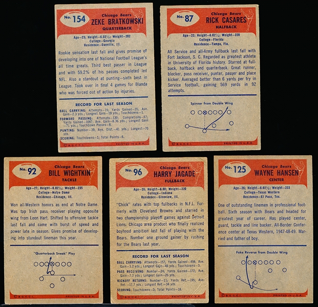 1955 Bowman Football- 5 Diff Chicago Bears