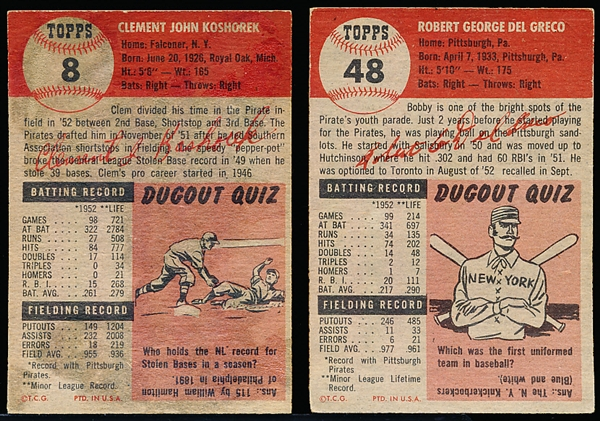 1953 Topps Bb- 2 Diff Pirates
