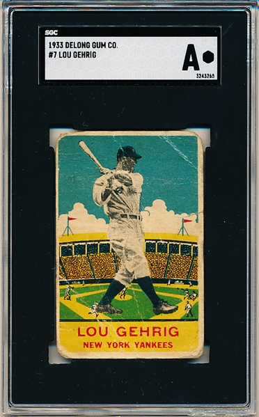 1933 DeLong Gum Co. Bb- #7 Lou Gehrig, New York Yankees- SGC A (Authentic)- Rare card!