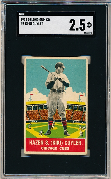 1933 DeLong Gum Co. Bb- #8 KiKi Cuyler, Chicago Cubs- SGC 2.5 (Good +)