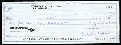 Stan Musial Double Signed Check
