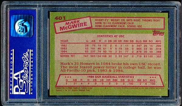 1985 Topps Bsbl. #401 Mark McGwire OLY RC- PSA Graded Near Mint to Mint 8