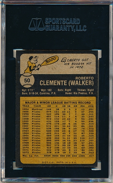 1973 Topps Baseball- #50 Roberto Clemente, Pirates- SGC 8.5 (Nm-Mt+)