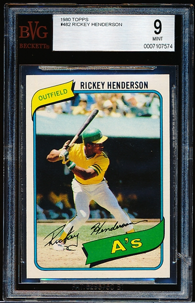 1980 Topps Baseball- #482 Rickey Henderson Rookie!- Beckett 9 Mint