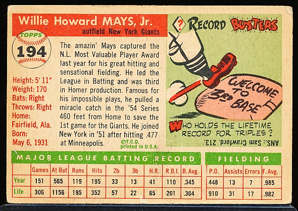 1955 Topps Baseball- #194 Willie Mays, Giants- Hi#