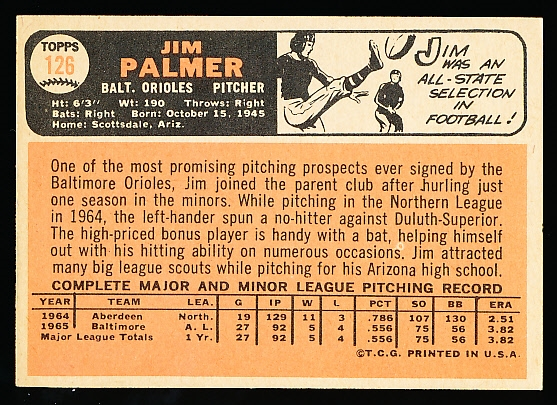 1966 Topps Baseball- #126 Jim Palmer Rookie