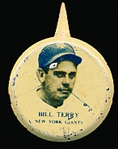 1938 Our National Game Baseball Pins- Bill Terry, NY Giants- 4 Pins