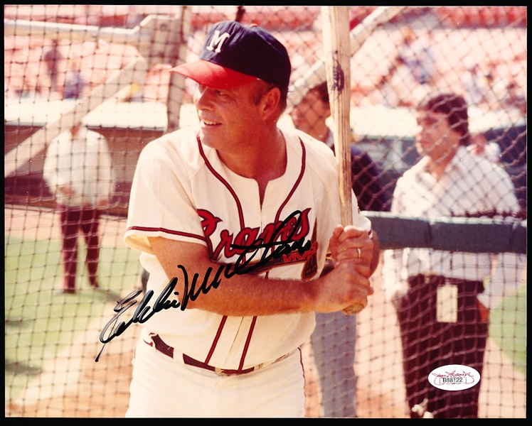 "Eddie Mathews Autographed Horizontal Color 10"" x 8"" Milwaukee Braves Photo"