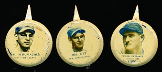 1938 Our National Game Baseball Pins- 6 Diff