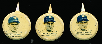 1938 Our National Game Baseball Pins- Lefty Gomez, NY Yankees- 3 Pins