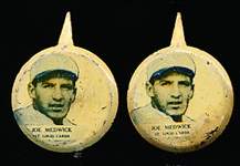 1938 Our National Game Baseball Pins- Joe Medwick, St. Louis Cards-2 Pins