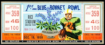 December 19, 1959 1st Annual Bluebonnet Bowl Ticket-Clemson defeated TCU 23-7.