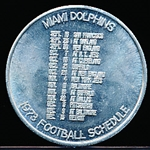 1973 George Dickel Whisky Miami Dolphins NFL Schedule Coin
