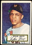 1952 Topps Baseball- #261 Willie Mays, Giants