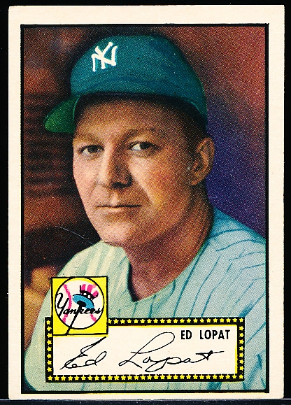 1952 Topps Baseball- #57 Ed Lopat, Yankees- Black back.