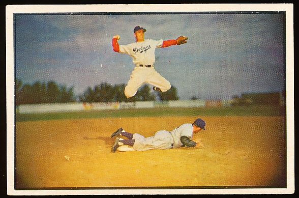 1953 Bowman Color Baseball- #33 Pee Wee Rese, Dodgers