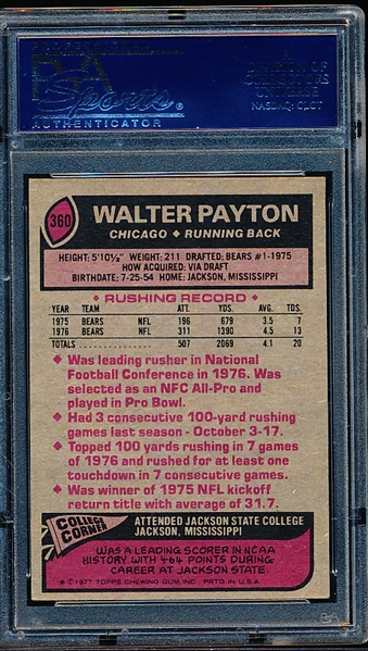 1977 Topps Football- #360 Walter Payton, Bears- PSA Ex-Mt 6