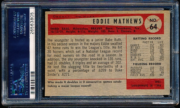 1954 Bowman Baseball- #64 Ed Mathews, Braves- PSA Vg-Ex 4