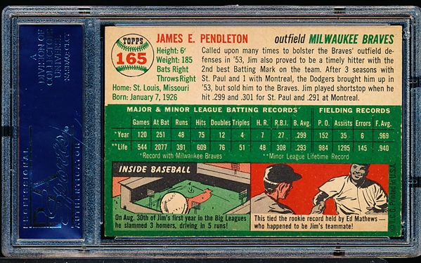 1954 Topps Baseball- #165 Jim Pendleton, Milwaukee Braves- PSA Ex-Mt 6