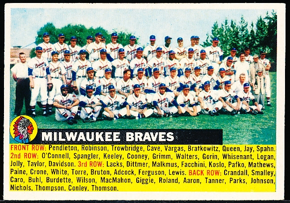 1956 Topps Baseball- #95 Milwaukee Braves Team- Gray Back/Name Left