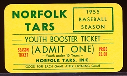 1955 Norfolk Tars MiLB Youth Booster Ticket
