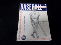 "1958 The Sporting News ""Official Baseball Guide""- Ted Williams The Splendid Splinter Cover"