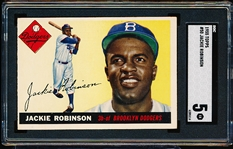 1955 Topps Baseball- #50 Jackie Robinson, Dodgers- SGC 5 (Ex)