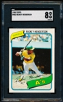 1980 Topps Baseball- #482 Rickey Henderson, A's- Rookie!- SGC 8 (Nm-Mt 8)
