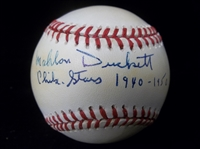 Autographed and Inscribed Mahlon Duckett, Negro Leaguer Official NL Bsbl.