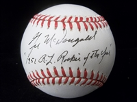 Autographed and Inscribed Gil McDougald Official AL Bsbl.