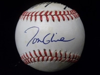 Autographed Atlanta Braves Official NL Bsbl. with 4 Signatures- inc. Tom Glavine