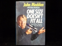 Autographed 1988 One Sized Doesn't Fit All, by John Madden with Dave Anderson- signed by Madden