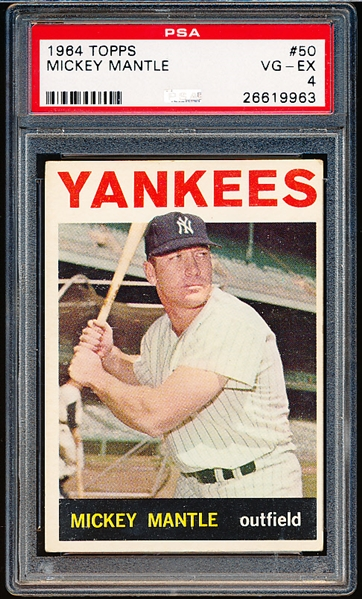 1964 Topps Baseball- #50 Mickey Mantle, Yankees- PSA Vg-Ex 4