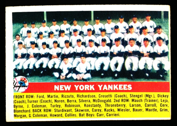 1956 Topps Baseball- #251 New York Yankees Team