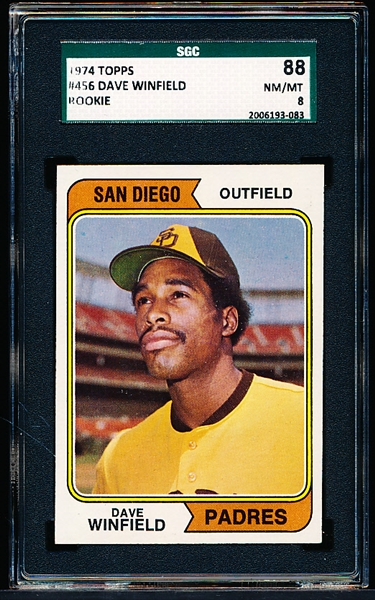 1974 Topps Baseball- #456 Dave Winfield RC- SGC 88 (NM-Mt 8)